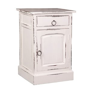 Sunset Trading Shabby Chic Whitewashed Nightstand - 25.5-in x 28-in - White