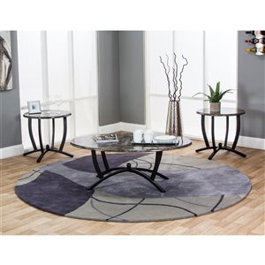 Sunset Trading Sierra 3-Piece Coffee and End Table Set - 22-in x 24-in - Black