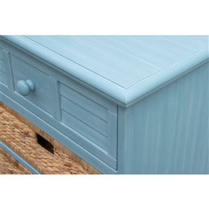 Sunset Trading Cool Breeze Nightstand with Baskets/Drawer - 29-in x 26-in - Blue