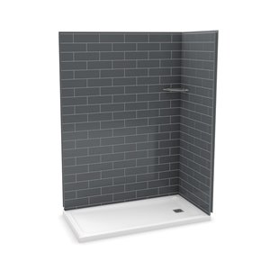 MAAX Utile Corner Shower Kit with Right Drain - 60-in x 32-in x 84-in - Thunder Grey - 3-Piece