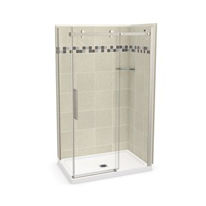 MAAX Utile Corner Shower Kit with Left Drain - 48-in x 32-in x 84-in - Stone Sahara/Brushed Nickel - 5-Piece