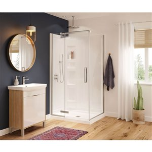 MAAX Hana Neo-Angle Shower Kit with Base and Wall - 42-in x 34-in x 78-in - Chrome - 3-Piece