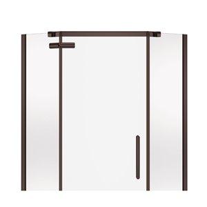 MAAX Hana Neo-Angle Shower Kit with Base - 38-in x 38-in x 78.75-in - Dark Bronze - 2-Piece