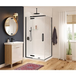 MAAX Hana Neo-Angle Shower Kit with Base - 42-in x 34-in x 78-in - Matte Black - 2-Piece