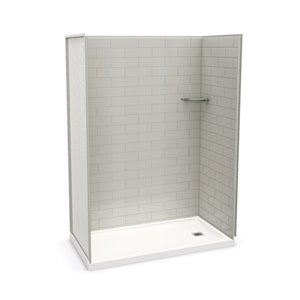 MAAX Utile Alcove Shower Kit with Right Drain - 60-in x 32-in - Soft Grey - 4-Piece