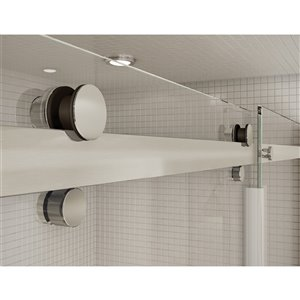 MAAX Utile Alcove Shower Kit with Central Drain - 48-in x 32-in - Origin Greige/Brushed Nickel - 5-Piece