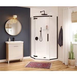 MAAX Hana Neo-Angle Shower Kit with Base - 40-in x 40-in x 78.75-in - Dark Bronze - 2-Piece