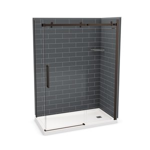 MAAX Utile Corner Shower Kit with Right Drain - 60-in x 32-in x 84-in - Thunder Grey/Dark Bronze - 5-Piece