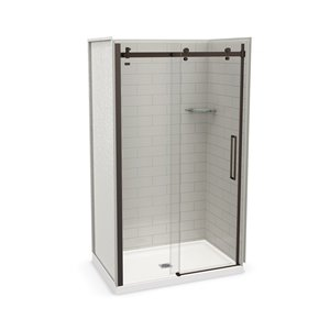 MAAX Utile Alcove Shower Kit with Central Drain - 48-in x 32-in - Soft Grey/Dark Bronze - 5-Piece