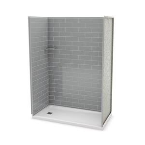 MAAX Utile Alcove Shower Kit with Left Drain - 60-in x 32-in - Ash Grey - 4-Piece