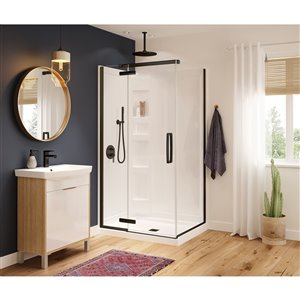 MAAX Hana Neo-Angle Shower Kit with Base and Wall - 42-in x 34-in x 78-in - Matte Black - 3-Piece