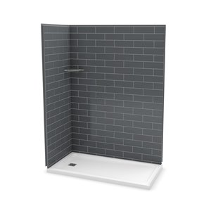MAAX Utile Corner Shower Kit with Left Drain - 60-in x 32-in x 84-in - Thunder Grey - 3-Piece