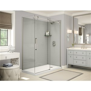 MAAX Utile Corner Shower Kit with Right Drain - 60-in x 32-in x 84-in - Soft Grey/Brushed Nickel - 5-Piece