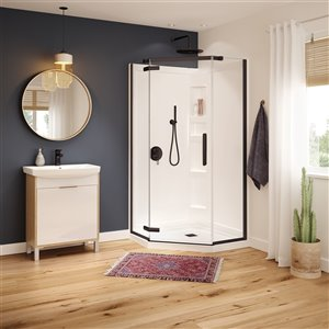 MAAX Hana Neo-Angle Shower Kit with Base and Wall - 38-in x 38-in x 78.75-in - Dark Bronze - 3-Piece