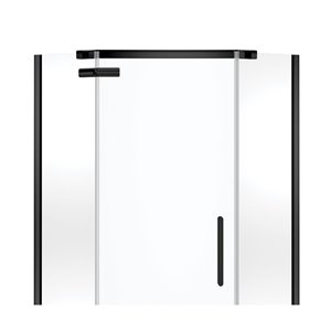 MAAX Hana Neo-Angle Shower Kit with Base and Wall - 38-in x 38-in x 78.75-in - Matte Black - 3-Piece