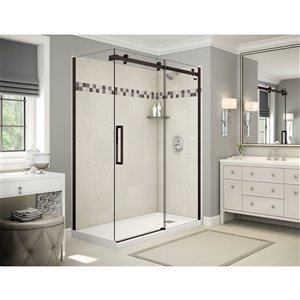 MAAX Utile Corner Shower Kit with Right Drain - 60-in x 32-in x 84-in - Stone Sahara/Dark Bronze - 5-Piece