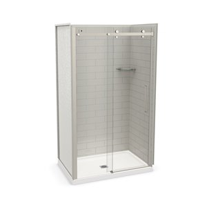 MAAX Utile Alcove Shower Kit with Central Drain - 48-in x 32-in - Soft Grey/Brushed Nickel - 5-Piece
