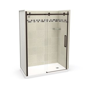 MAAX Utile Alcove Shower Kit with Right Drain - 60-in x 32-in - Stone Sahara/Dark Bronze - 5-Piece