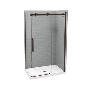 MAAX Utile Corner Shower Kit with Central Drain - 48-in x 32-in x 84-in - Ash Grey/Dark Bronze - 5-Piece