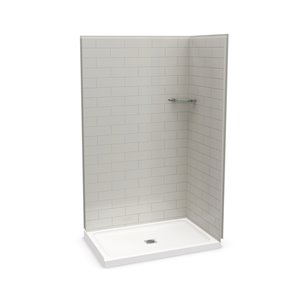 MAAX Utile Corner Shower Kit with Central Drain - 48-in x 32-in x 84-in - Soft Grey - 3-Piece