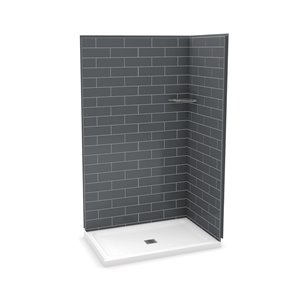 MAAX Utile Corner Shower Kit with Central Drain - 48-in x 32-in x 84-in - Thunder Grey - 3-Piece
