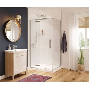 MAAX Hana Neo-Angle Shower Kit with Base - 42-in x 34-in x 78-in - Brushed Nickel - 2-Piece
