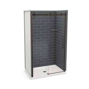 MAAX Utile Alcove Shower Kit with Central Drain - 48-in x 32-in - Thunder Grey/Dark Bronze - 5-Piece