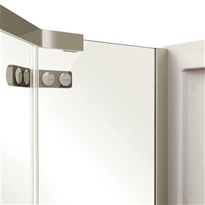MAAX Hana Neo-Angle Shower Kit with Base - 38-in x 38-in x 78.75-in - Brushed Nickel - 2-Piece