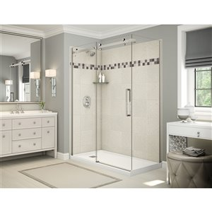MAAX Utile Corner Shower Kit with Left Drain - 60-in x 32-in x 84-in - Stone Sahara/Brushed Nickel - 5-Piece