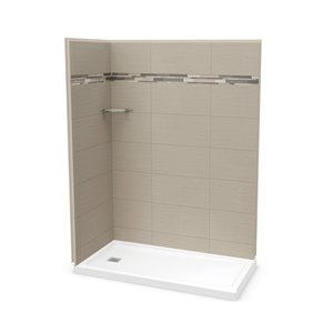 MAAX Utile Corner Shower Kit with Left Drain - 60-in x 32-in x 84-in - Origin Greige - 3-Piece