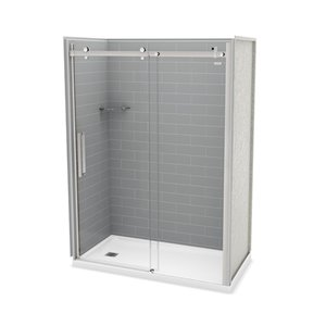 MAAX Utile Alcove Shower Kit with Left Drain - 60-in x 32-in - Ash Grey/Chrome - 5-Piece