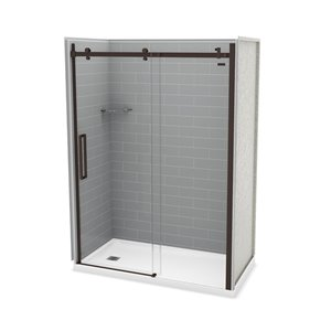 MAAX Utile Alcove Shower Kit with Left Drain - 60-in x 32-in - Ash Grey/Dark Bronze - 5-Piece