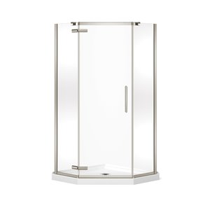 MAAX Hana Neo-Angle Shower Kit with Base - 40-in x 40-in x 78.75-in - Brushed Nickel - 2-Piece