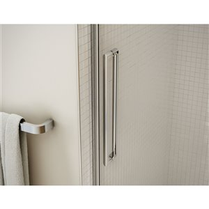 MAAX Utile Alcove Shower Kit with Central Drain - 48-in x 32-in - Origin Greige/Chrome - 5-Piece