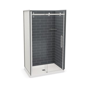 MAAX Utile Alcove Shower Kit with Central Drain - 48-in x 32-in - Thunder Grey/Chrome - 5-Piece