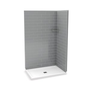MAAX Utile Corner Shower Kit with Central Drain - 48-in x 32-in x 84-in - Ash Grey - 3-Piece