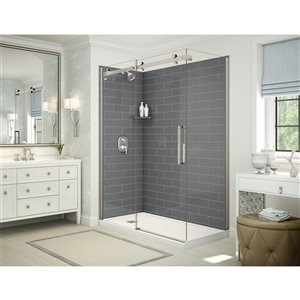 MAAX Utile Corner Shower Kit with Left Drain - 60-in x 32-in x 84-in - Thunder Grey/Brushed Nickel - 5-Piece
