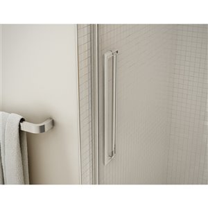 MAAX Utile Alcove Shower Kit with Central Drain - 48-in x 32-in - Stone Sahara/Brushed Nickel - 5-Piece