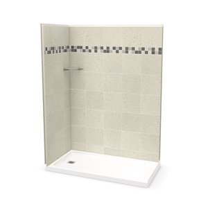MAAX Utile Corner Shower Kit with Left Drain - 60-in x 32-in x 84-in - Stone Sahara - 3-Piece