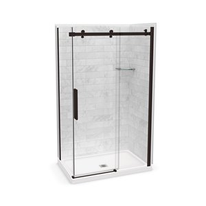 MAAX Utile Corner Shower Kit with Central Drain - 48-in x 32-in x 84-in - Marble Carrara/Dark Bronze - 5-Piece