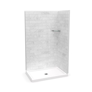 MAAX Utile Corner Shower Kit with Central Drain - 48-in x 32-in x 84-in - Marble Carrara - 3-Piece