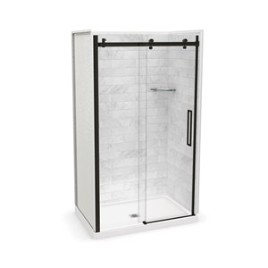 MAAX Utile Alcove Shower Kit with Central Drain - 48-in x 32-in - Marble Carrara/Dark Bronze - 5-Piece
