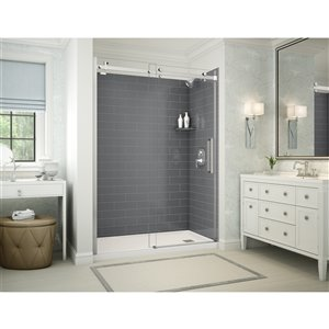 MAAX Utile Alcove Shower Kit with Right Drain - 60-in x 32-in - Thunder Grey/Chrome - 5-Piece