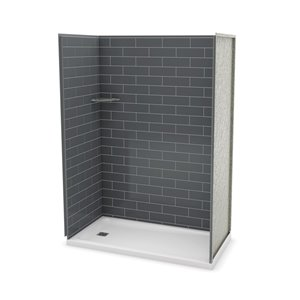 MAAX Utile Alcove Shower Kit with Left Drain - 60-in x 32-in - Thunder Grey - 4-Piece