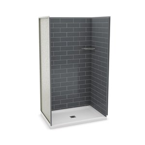 MAAX Utile Alcove Shower Kit with Central Drain - 48-in x 32-in - Thunder Grey - 4-Piece