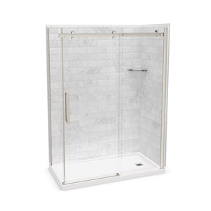 MAAX Utile Corner Shower Kit with Right Drain - 60-in x 32-in x 84-in - Marble Carrara/Brushed Nickel - 5-Piece