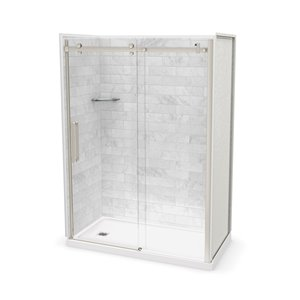 MAAX Utile Alcove Shower Kit with Left Drain - 60-in x 32-in - Marble Carrara/Brushed Nickel - 5-Piece