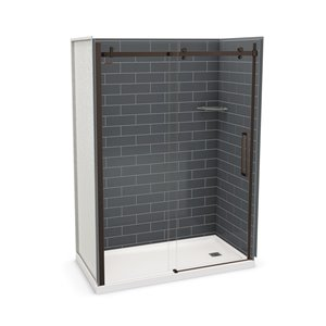 MAAX Utile Alcove Shower Kit with Right Drain - 60-in x 32-in - Thunder Grey/Dark Bronze - 5-Piece