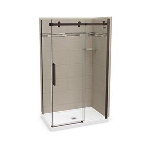 MAAX Utile Corner Shower Kit with Central Drain - 48-in x 32-in x 84-in - Origin Greige/Dark Bronze - 5-Piece