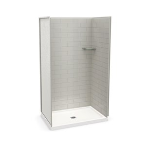 MAAX Utile Alcove Shower Kit with Central Drain - 48-in x 32-in - Soft Grey - 4-Piece